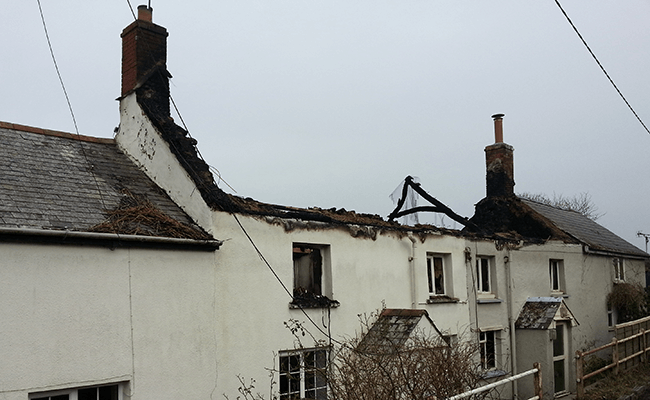 A property with a burnt out roof near Seaham
